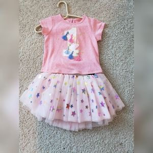 NWT MudPie 1st Birthday Shirt and Tutu Skirt